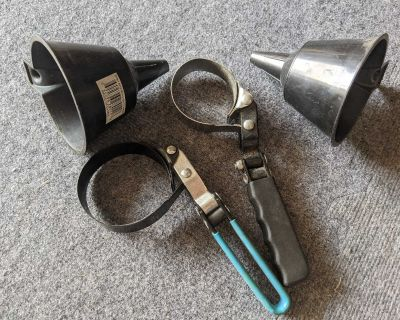 Set of 2 Oil Filter Wrenches and Funnels for pick up in Cooper's Crossing Airdrie