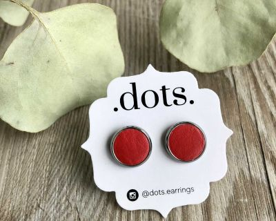 Dots Genuine Leather Candy Apple Studs