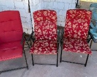 Folding Chairs w/cushions (3 sets of 2 = 6)