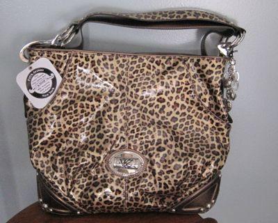 Authentic Kathy VanZeeland Leopard Triple Compartment Hobo Purse NWT