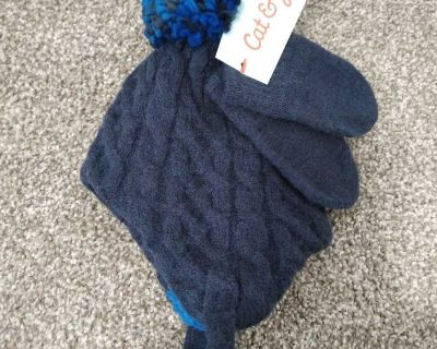 0-6 month Cat and Jack infant winter hat and mittens