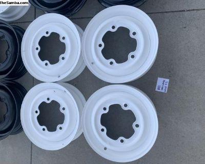 Powder coated satin white 64-65 type 3 wheels