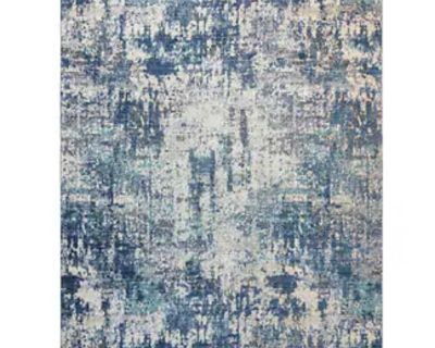 """NEW - 5'3"""" x 7'5"""" - ASTERIA BLUE ABSTRACT AREA RUG W/SHORT FRINGE"""