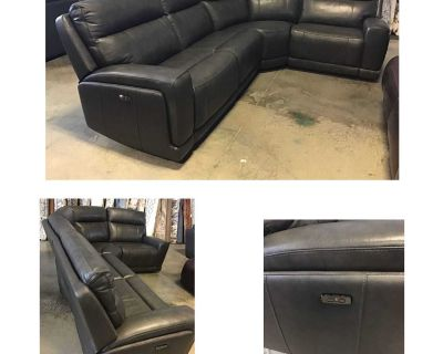 Lauretta 4-piece Leather Power Reclining Sectional with Power Headrest (Assembled ) PRE-OWNED