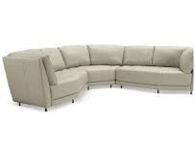 Furniture Belice 3pc All Leather Sectional light gray - FURNITURE NOW