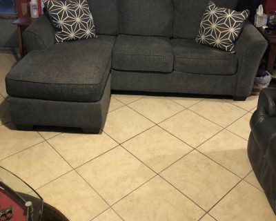 Sofa with foot side blue