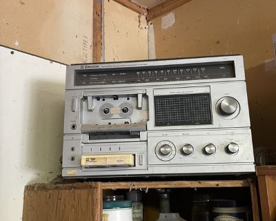 8 track cassette record player, and cassettes