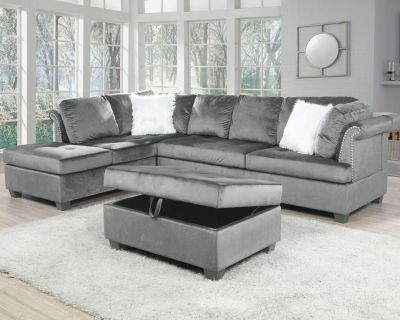 Brand new in box velvet fabric sectional with ottoman at wholesale price