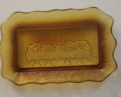 Vintage Amber glass serving tray THE LAST SUPPER