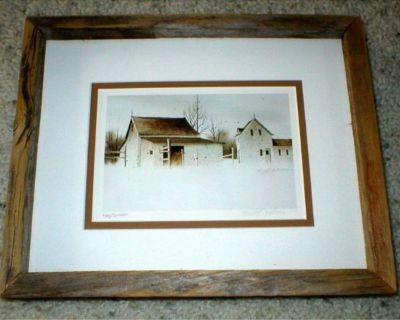 Old Homestead Vtg Art Print - Signed & Numbered - Rustic Wood Frame