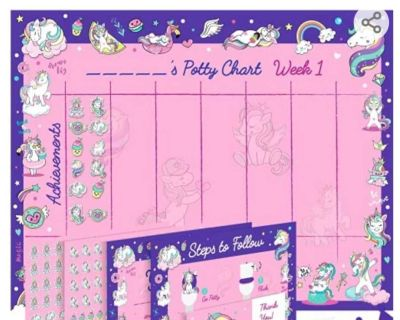 Unicorn potty training chart for toddlers