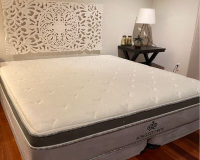 King size mattress with a springbox (a bed base)