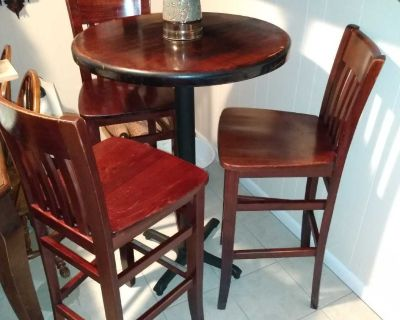 Bar style bistro table and 3 solid wood stools
