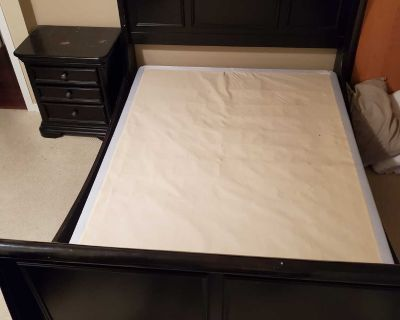 Solid Wood Sleigh Bed with 2 side tables