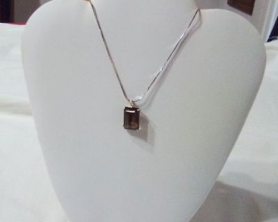 Smoky Topaz Pendant Necklace with Silver Chain
