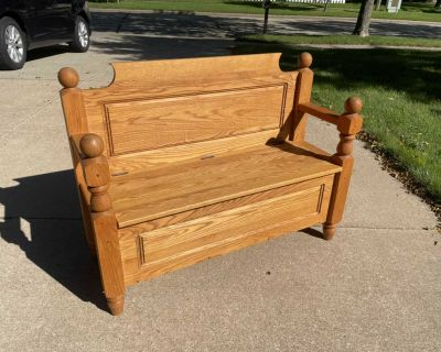 Amish made bishop s bench, solid oak, 44 wide x 33.5 overall height x 16.75 seat height x 14.5 deep