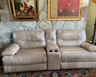 Couch-Beige Leather double recliner for sale