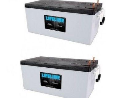 A Pair Of Lifeline Gpl-8dl Agm Deep Cycle Marine / Rv Batteries 255ah