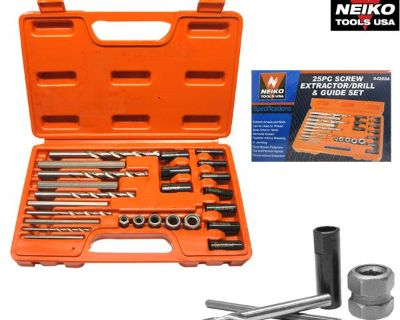 25pc Screw Extractor Drill & Guide Set Extracts Broken Screws Bolts Fasteners