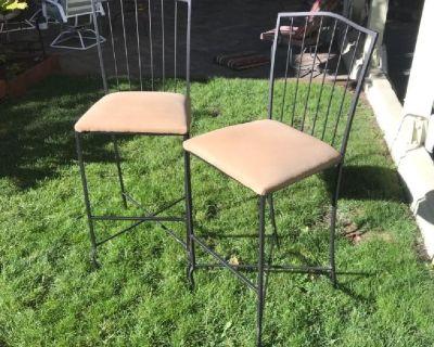 Set of 2 Black Metal Frame Dining Chairs