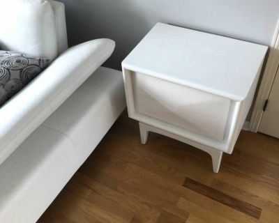 White wood side table or night table