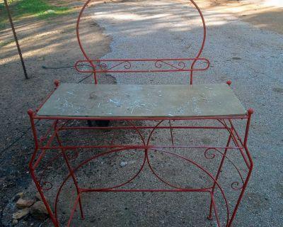 Hollywood Regency Scrolled Iron Vanity Table
