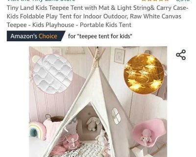 Tiny Land Kids Teepee Tent w/mat. Carrying case. White. New! See pics!