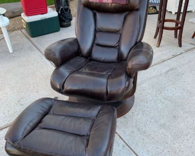 Genuine leather recliner and foot rest