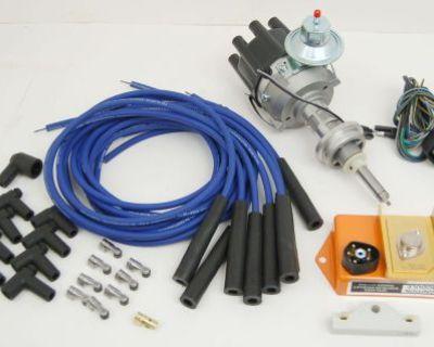 Mopar 440, 426w, 413 Electronic Distributor Kit & Blue Spark Plug Wire Set