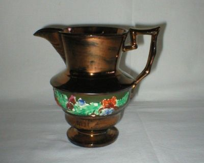 Antique Luster Ware Creamer Pitcher from Germany 110 Yrs Old + Handwritten Note