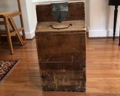 Antique end table / storage container with glass jar
