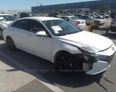 Salvage White 2021 Hyundai Elantra Hybrid
