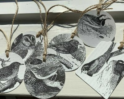 Handmade Bird Gift Tags from Book Pages