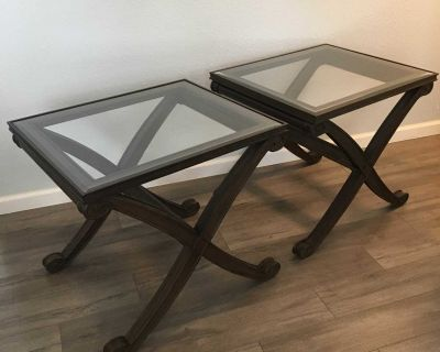 End Tables x2 Wood Beveled Glass