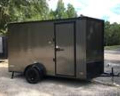 """6ft X 12ft Enclosed Cargo Trailer, 7ft 2"""" Tall, Charcoal and Black Out Pkg Trim!"""