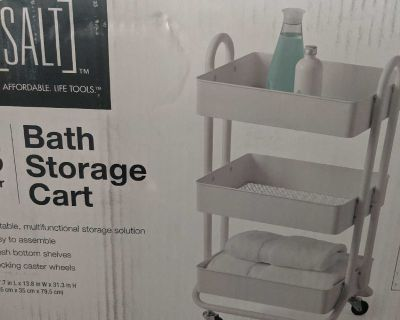 Brand new white rolling cart in box