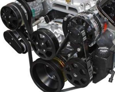 Sbc Serpentine Pulley Kit, Billet Black Finish W/ac W/power Steering. U.s.a.