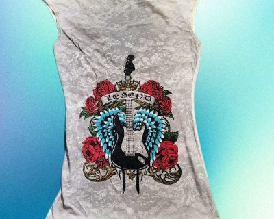 White Graphic Tank Top LA Movers Used