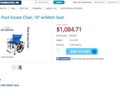 "Buy Aqua Creek Pool Access Chair, 18"" w/Mesh Seat"