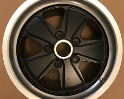 "Two Genuine Fuchsfelge Fuchs Wheels, Like New 17""x9"" 17x9 ET 55 Satin Black"