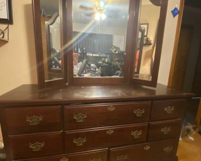 Tall Dresser with mirror, top is scratched and stained