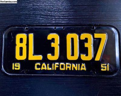 1951 California License Plate, Original, Excellent