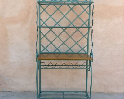 Large Iron Wrought Tuscan style side board with wine rack-excellent condition