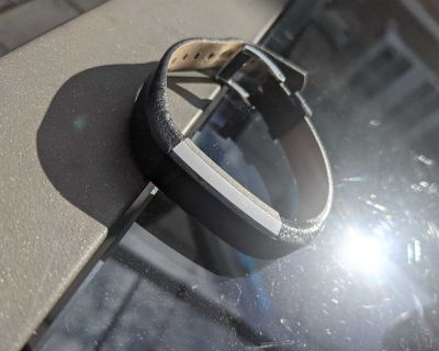 Fitbit Alta HR with charger and black leather band