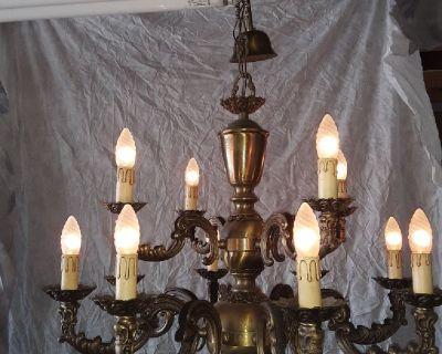 12 light antique brass chandelier