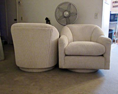 Pair of Swivel Accent Chairs for Den or Living Room