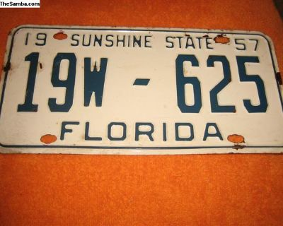 1957 Florida license plate to register