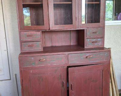 Burgundy primitive cupboard
