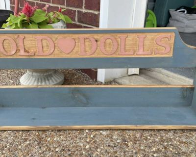 Old doll shelf used for collectibles, it does hang