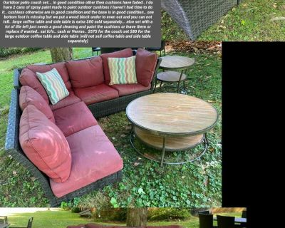 Outdoor patio couch set.. $575 couch $80 tables
